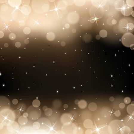 gold bokeh background. Festive defocused lights. Illustration