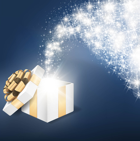 open box: Open gift box with shiny star light