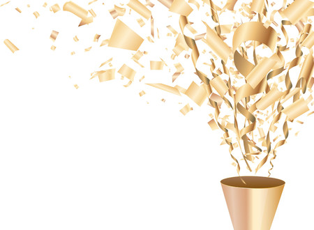 Golden exploding party popper with confetti and streamer Vector