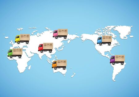 Delivery truck on global map. Logistic concept. Vectores