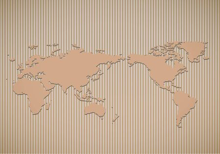 brown box: World map on corrugated cardboard texture Vector Illustration