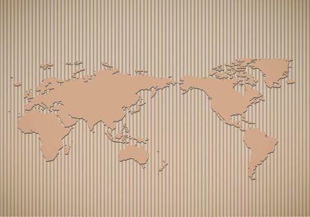 cardboard texture: World map on corrugated cardboard texture Vector Illustration