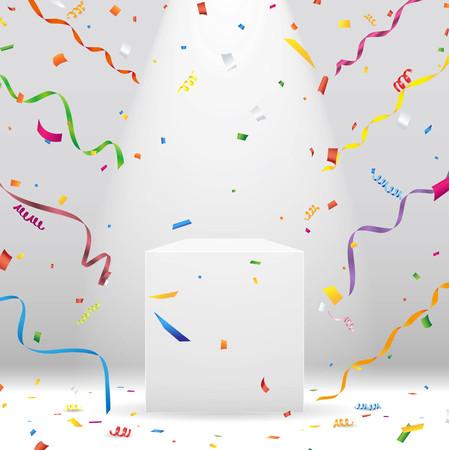 White podium with spotlight and colorful confetti Vector Vettoriali