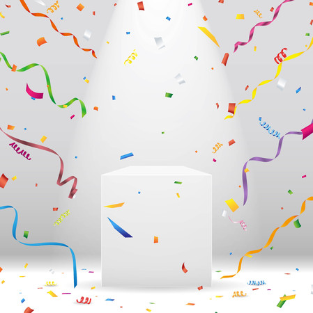 White podium with spotlight and colorful confetti Vector Stock Illustratie