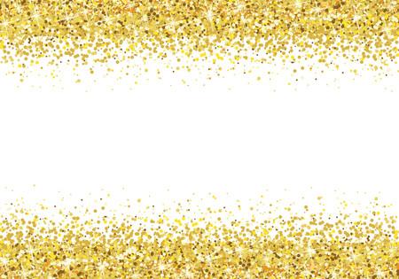 Gold glitter frame on white background Vector