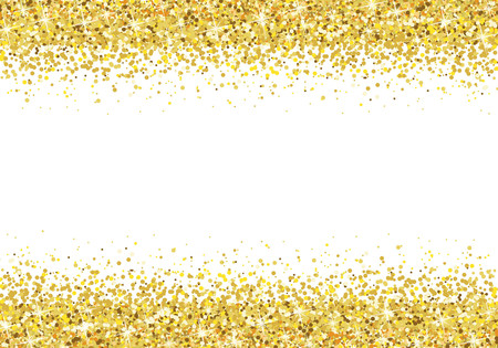 Gold glitter frame on white background Vector