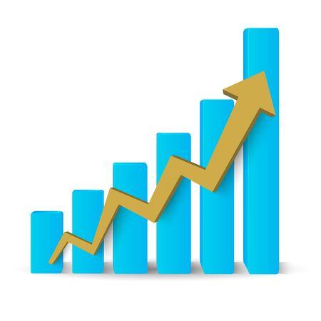 ビジネスの成長のグラフ。