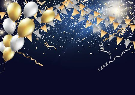 celebration: Gold and silver party flags with confetti and balloon. Celebration design with shining particles. Illustration