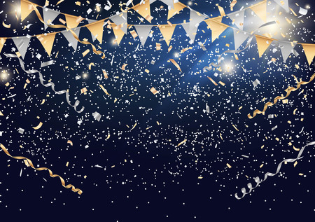 Festival background with party flag and confetti