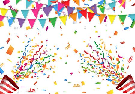 Bunte Flagge, Konfetti und Party-Popper auf weißem Hintergrund