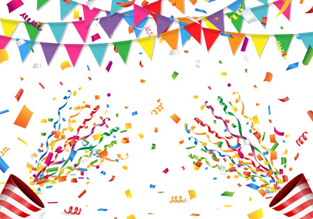 Colorful flag, confetti and party popper on white background