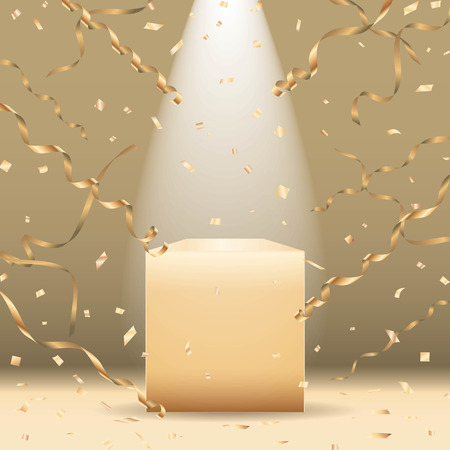 Golden podium with spotlight and confetti Vector