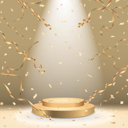 スポット ライトと紙吹雪ベクトルと黄金の表彰台  イラスト・ベクター素材