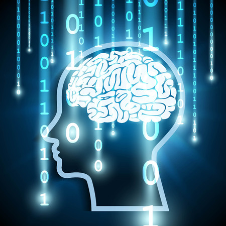 Human brain and binary code stream Vector