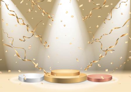 Winnaarspodium met schijnwerper en confetti
