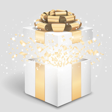 Opened gift box with gold bow and confetti Vector