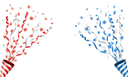 Ontploffende party popper met sterren confetti en streamer Stock Illustratie