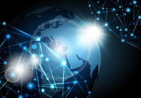 グローバル ネットワーク接続背景ベクトル イラスト。 写真素材 - 84739515