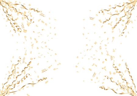 金の紙吹雪およびストリーマ コーナー フレーム白い背景の上に。ベクトルの図。  イラスト・ベクター素材