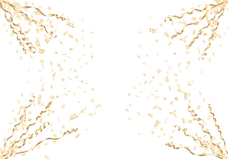 Gold confetti and streamer corner frame on white background. Vector illustration.