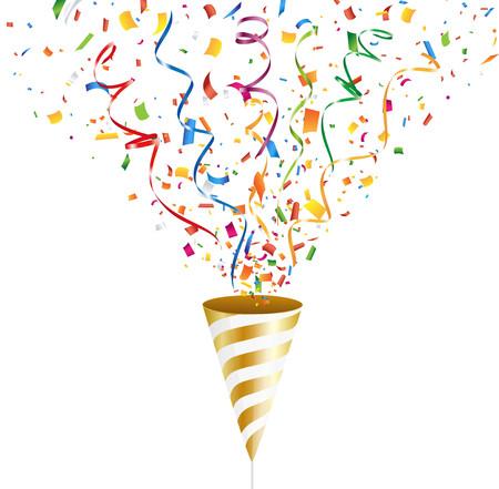 Gouden feestpop met kleurrijke confetti en streamer. Vector illustratie.