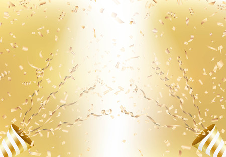 Exploding golden party popper on a flying confetti background. Vector illustration.
