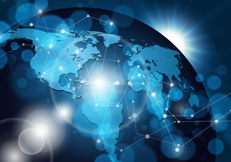 Globalne połączenie sieciowe. Ilustracji wektorowych.