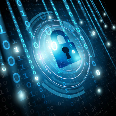 Padlock on matrix binary background. Network security concept. Vector illustration Vectores