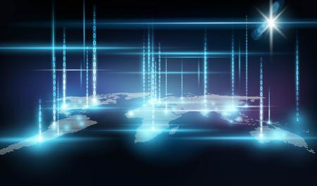 Global network with binary code Vector illustration. Illusztráció