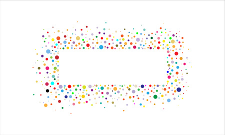 Square frame with colorful confetti on a white background