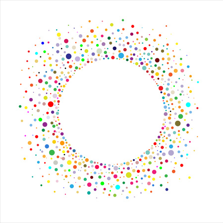 Circular frame with colorful confetti on a white background Ilustracja