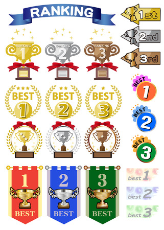 Trophy vector icons set