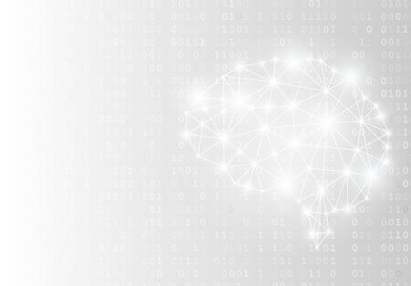 Glowing brain and matrix style binary background