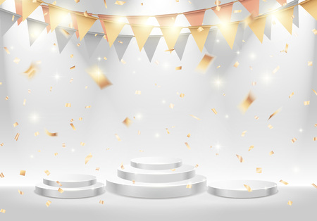 Ranking white stage podium with spotlight. Vector illustration Vettoriali