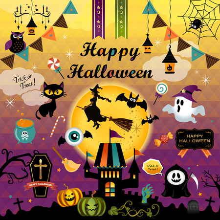 Happy Halloween design elements set. Halloween design icons, elements, logos, and objects. Vector illustration