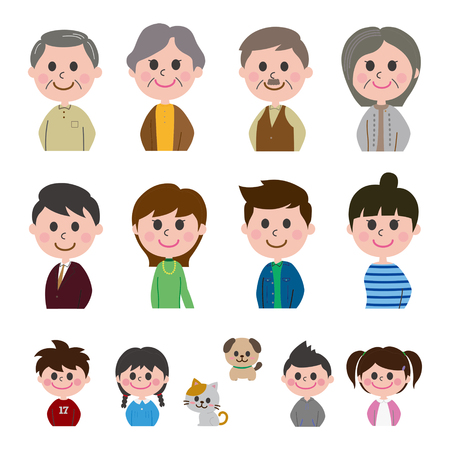 Family happy smile icons set