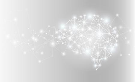 Glowing ai brain network. Vector illustration.