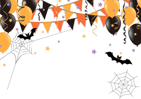 Halloween party flags on white background. Vector illustration.