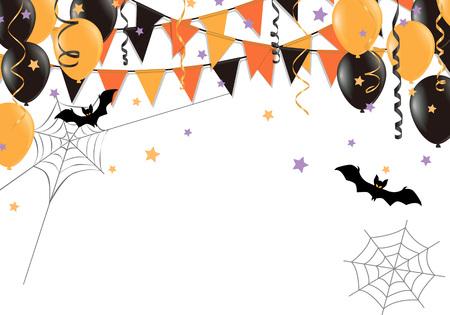 Bandiere del partito di Halloween su priorità bassa bianca. Illustrazione vettoriale. Vettoriali