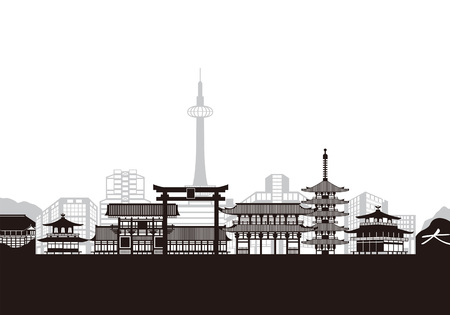Kyoto landmark buildings. Vector illustration.  イラスト・ベクター素材
