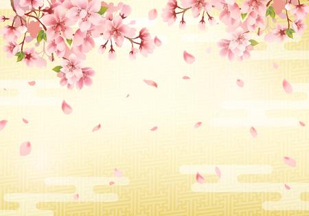 Japanischer traditioneller goldener Hintergrund und Kirschblüte. Vektor-Illustration. Vektorgrafik