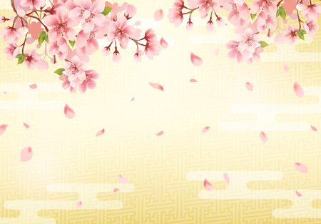 Japanese traditional golden background and cherry blossom. Vector illustration.