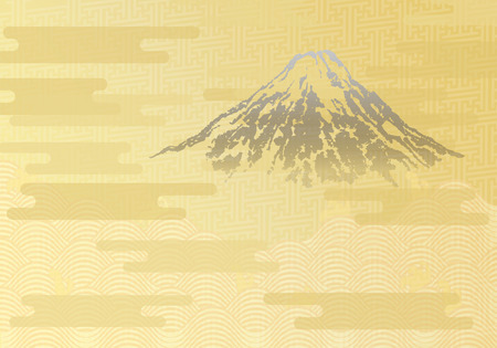 Japanese traditional golden background. Mt.Fuji, ocean wave, and cloud. Vector illustration.