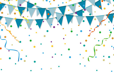 Blue party flags with colorful confetti and streamer on white background. Birthday and festive event.
