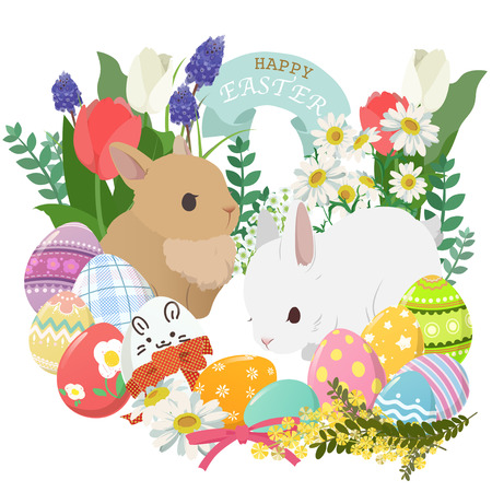 et with decorated eggs, rabbit, flower and plant
