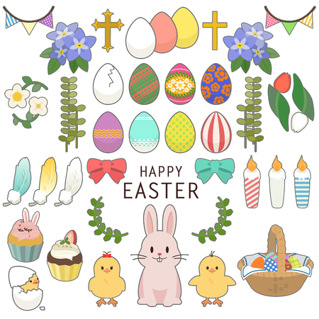 Happy Easter icons set with decorated eggs, rabbit, chick, ornament, pancake, feather, flower and plant Vettoriali