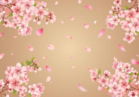 Cherry blossom sakura on gold Illusztráció