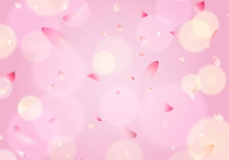 Flying cherry blossom sakura petal in springtime on pink