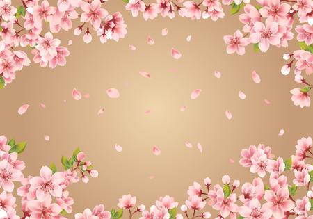 Cornice Sakura su fondo oro