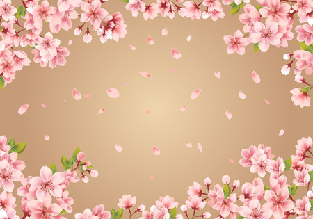 Sakura frame on gold background